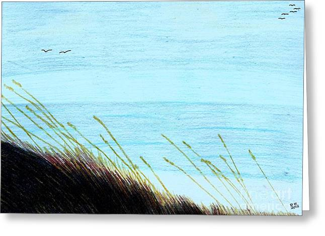 Greeting Card featuring the drawing Sea Oats In The Wind Drawing by D Hackett