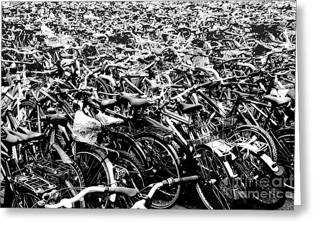 Greeting Card featuring the photograph Sea Of Bicycles 3 by Joey Agbayani