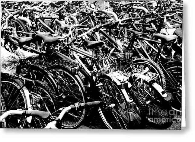 Greeting Card featuring the photograph Sea Of Bicycles 2 by Joey Agbayani