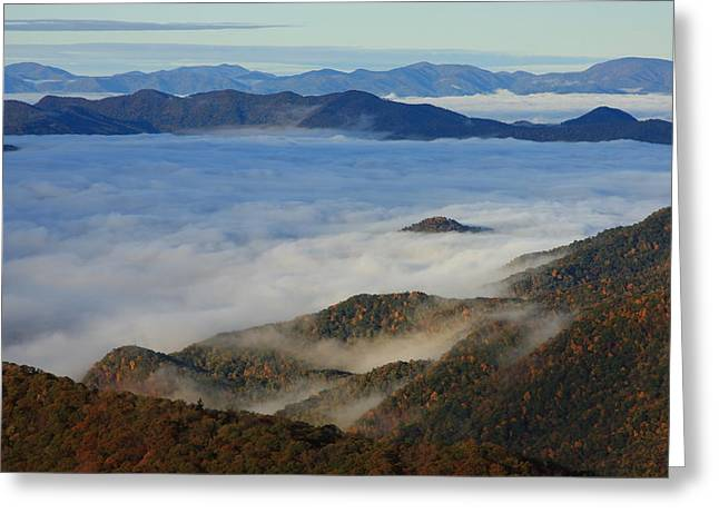 Sea Of Clouds In The Courthouse Valley-blue Ridge Parkway Greeting Card