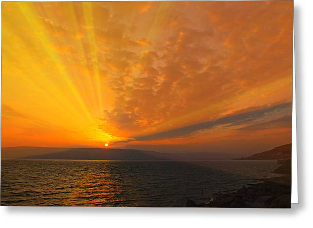 Sea Of Galilee Sunrise Greeting Card by Stephen Stookey