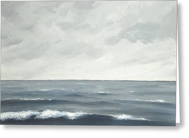 Sea On A Grey Day Greeting Card by Anna Bronwyn Foley