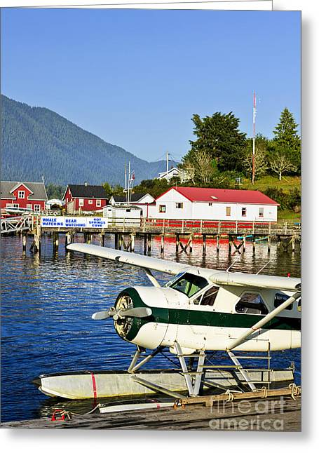Sea Plane At Dock In Tofino Greeting Card by Elena Elisseeva