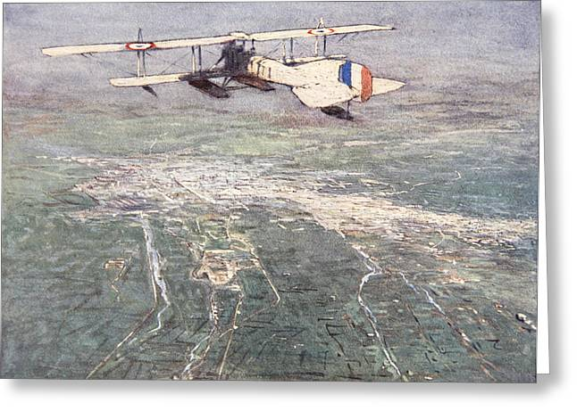 Sea-plane Flying Over Damascus Greeting Card by Donald Maxwell