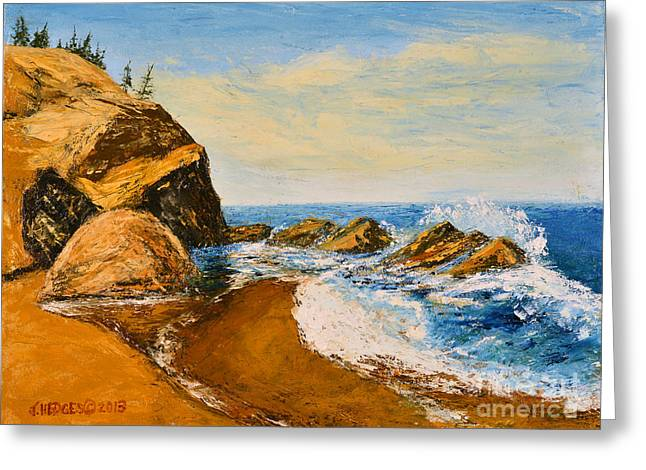 Sea Scape - Trees On Cliff Greeting Card