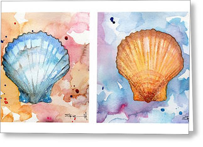 Sea Shells In Contrast Greeting Card