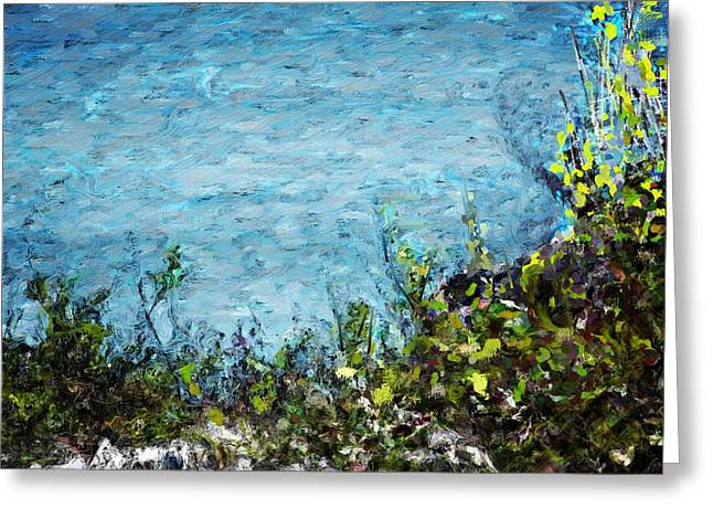 Greeting Card featuring the digital art Sea Shore 1 by David Lane