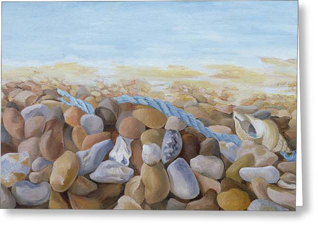 Sea Shore Oil On Canvas Greeting Card