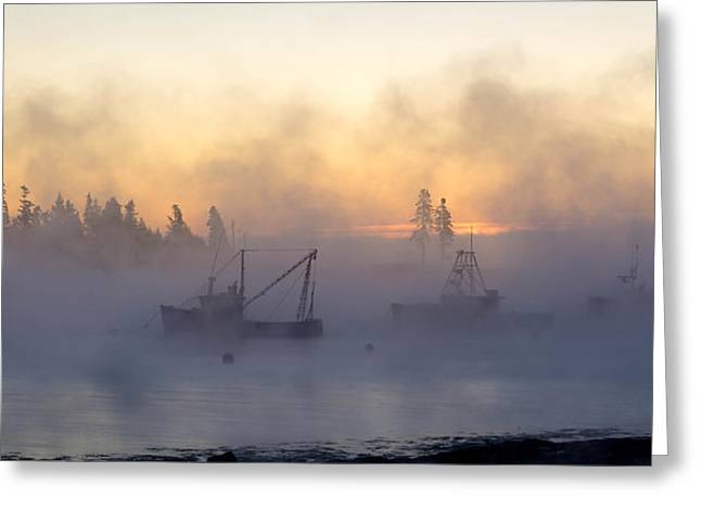 Sea Smoke Down East Maine  Greeting Card