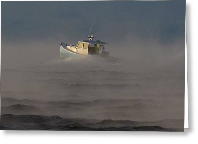 Sea Smoke Lobster Boat Greeting Card