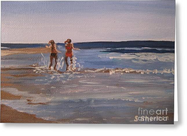 Sea Splashing On The Beach Greeting Card