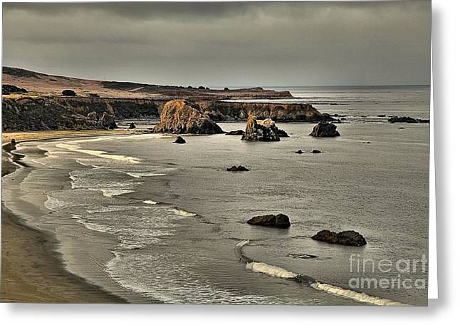 Sea Stacks And Storm Clouds Greeting Card