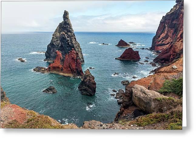 Sea Stacks At Ponta De Sao Lourenco Greeting Card