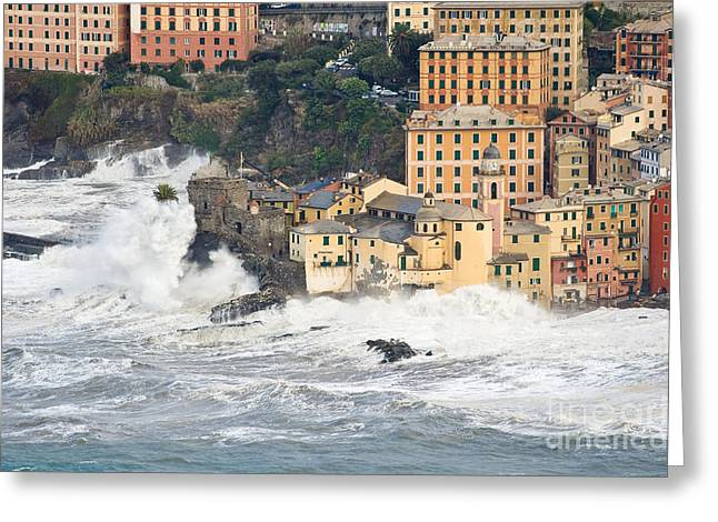 Greeting Card featuring the photograph Sea Storm In Camogli - Italy by Antonio Scarpi
