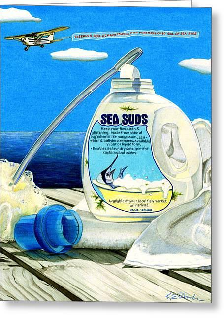 Sea Suds Greeting Card by Karen Rhodes