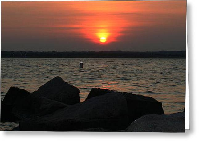 Sea Sun And Rocks Greeting Card by Stephen Melcher