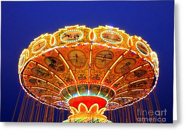 Sea Swings At Night Greeting Card
