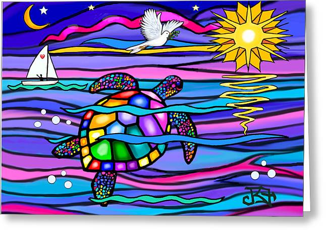 Sea Turle In Blue And Pink Greeting Card