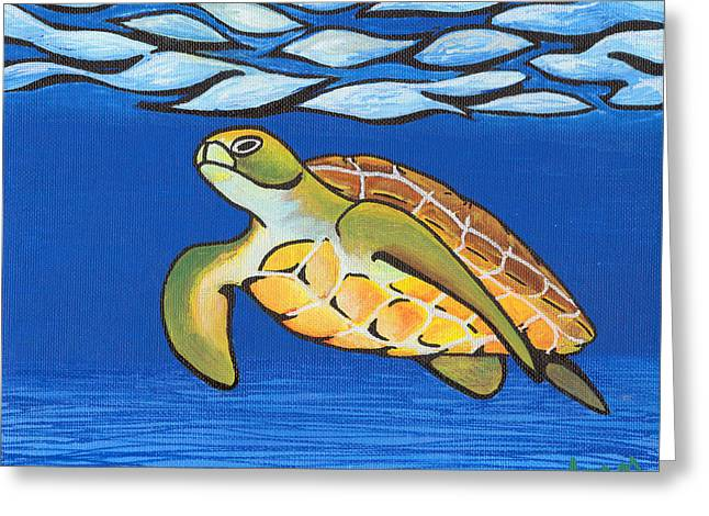 Sea Turtle Greeting Card by Adam Johnson