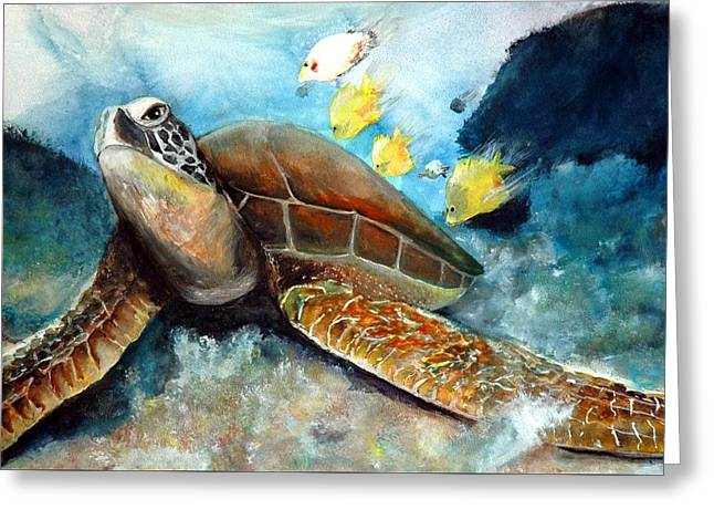 Greeting Card featuring the painting Sea Turtle I by Bernadette Krupa