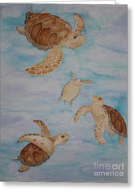 Sea Turtle Family Greeting Card by Carol Fielding