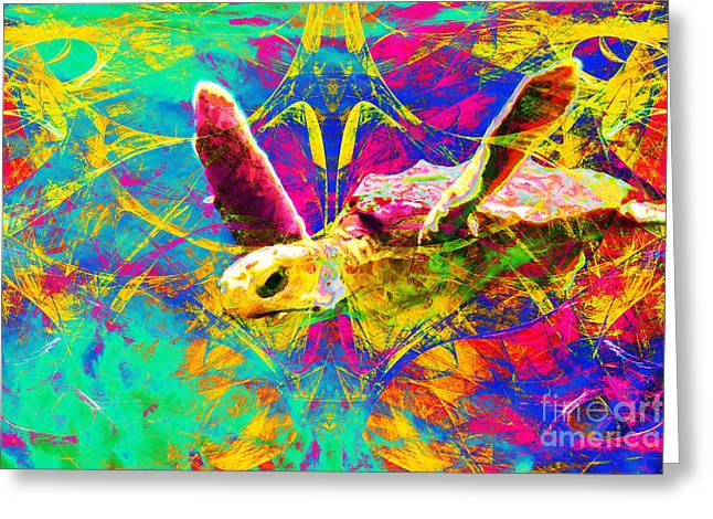 Sea Turtle In Abstract V2 Greeting Card by Wingsdomain Art and Photography
