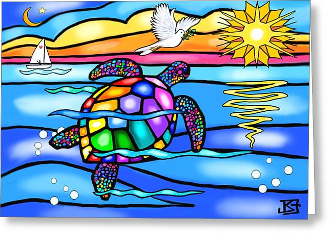 Sea Turtle In Turquoise And Blue Greeting Card