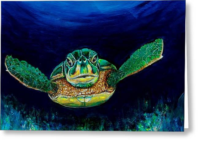 Sea Turtle Greeting Card by Jean Cormier