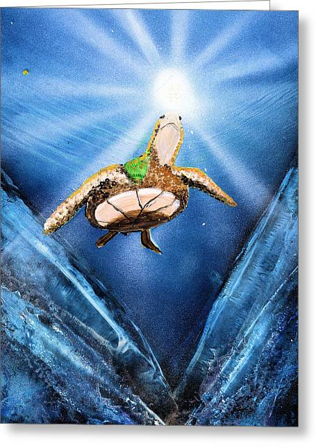 Sea Turtle Greeting Card by Just Joszie