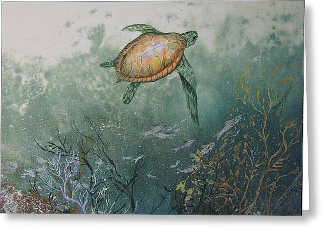 Sea Turtle Greeting Card by Nancy Gorr