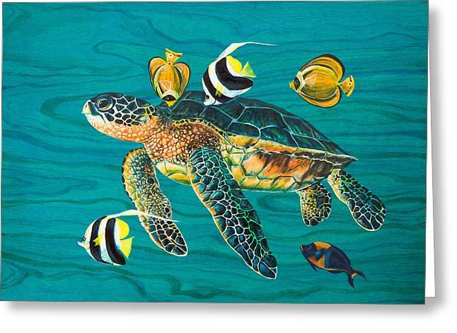 Sea Turtle With Fish Greeting Card