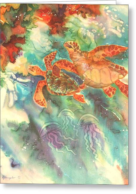 Sea Turtles Greeting Card by Deborah Younglao