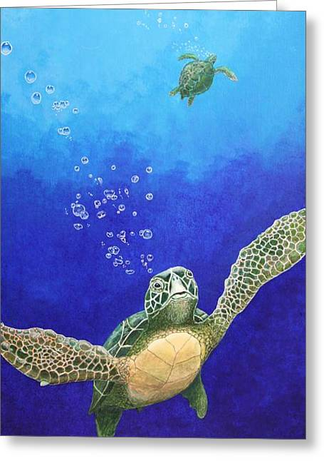Sea Turtles Greeting Card by Fred-Christian Freer