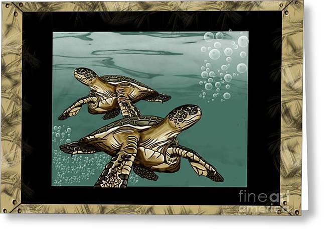 Sea Turtles Greeting Card by Karen Sheltrown