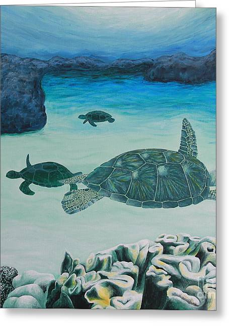 Sea Turtles Greeting Card by Krista Kulas