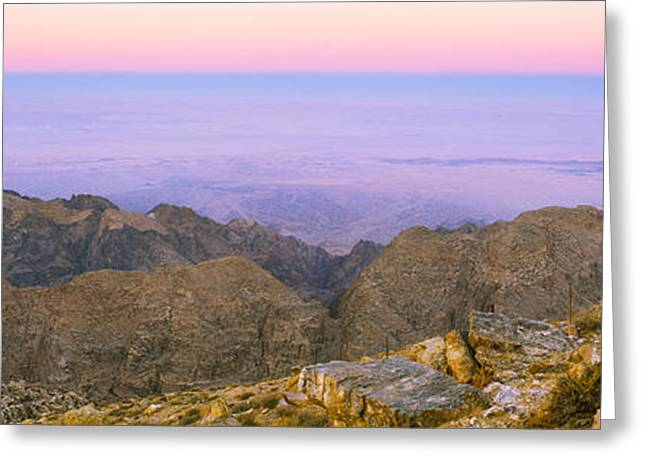 Sea Viewed From A Mountain Top At Dusk Greeting Card by Panoramic Images