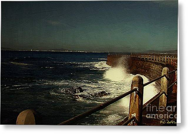 Sea Wall At Night Greeting Card