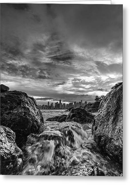Sea Water Between Rocks Greeting Card