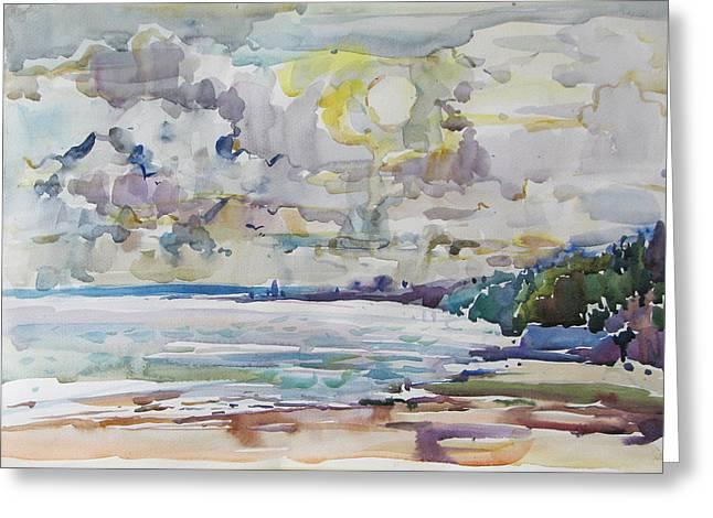 Sea Water Colour Greeting Card by Juliya Zhukova