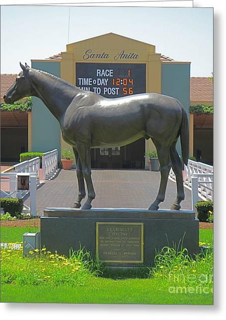 Seabiscuit Statue At Santa Anita Race Track  Greeting Card