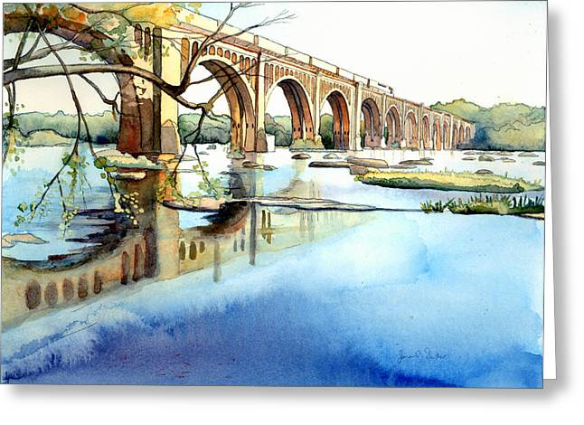 Seaboard Bridge Crossing The James  Greeting Card