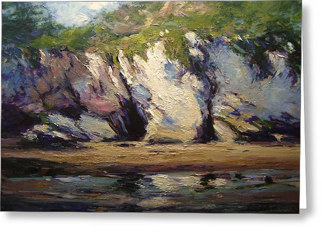Seacaves At Pismo Beach Greeting Card by R W Goetting