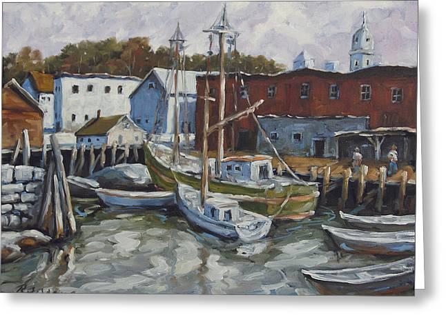 Seacscape Dock Scene By Prankearts Greeting Card by Richard T Pranke