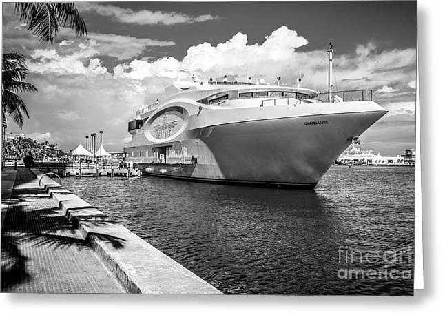 Seafair Art Venue Yacht Moored In Miami - Black And White Greeting Card by Ian Monk