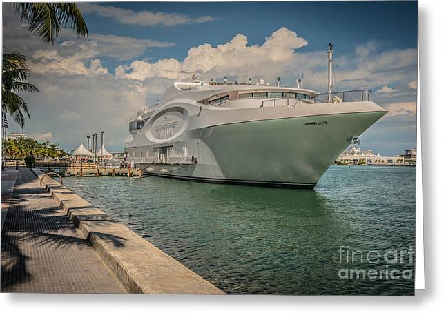 Seafair Art Venue Yacht Moored In Miami - Hdr Style Greeting Card by Ian Monk