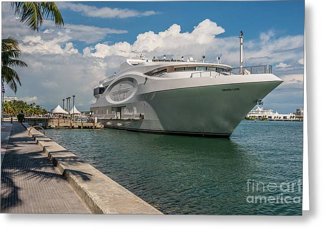 Seafair Art Venue Yacht Moored In Miami Greeting Card by Ian Monk