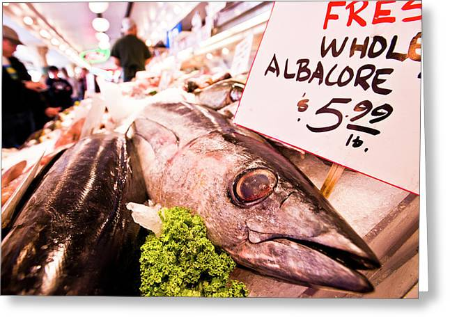 Seafood On Display At Pike Place Market Greeting Card