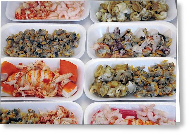 Seafood Portions Greeting Card by Victor De Schwanberg