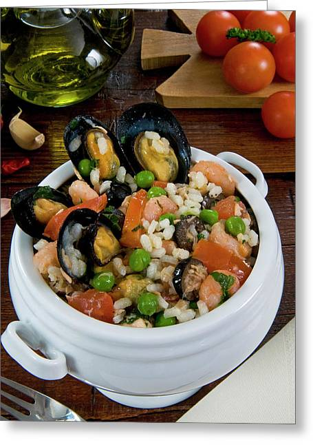 Seafood Rice With Mussels, Shrimps Greeting Card