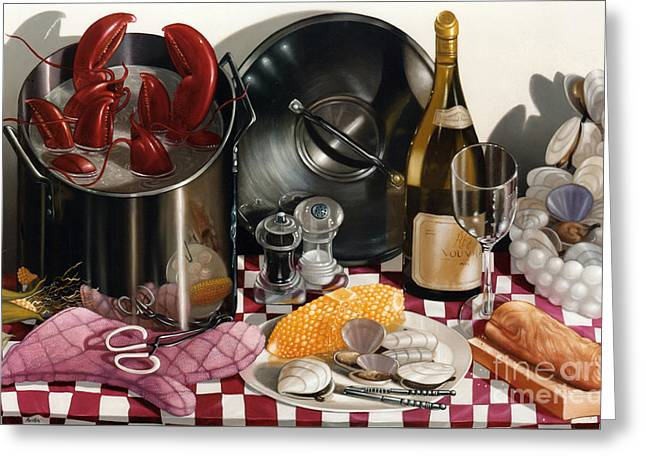 Seafood Serenade 1996  Skewed Perspective Series 1991 - 2000 Greeting Card by Larry Preston